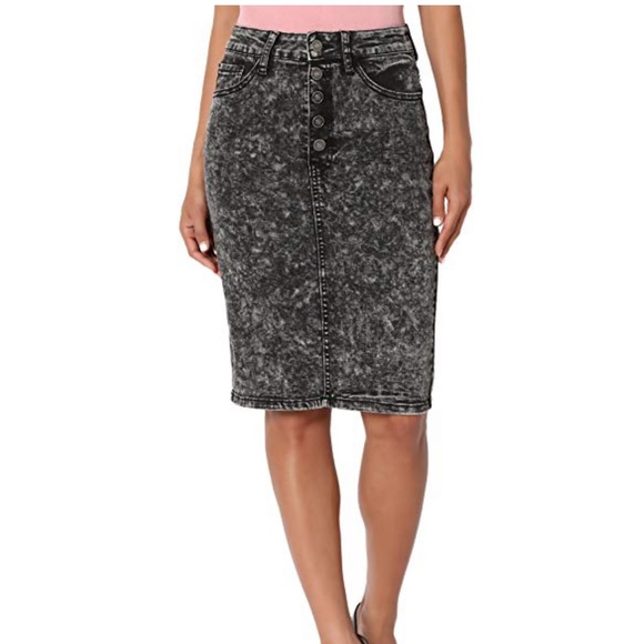 824d74b77eb2f4 S. the Widow Skirts | Renley Acid Wash Denim High Rise Midi Skirt ...